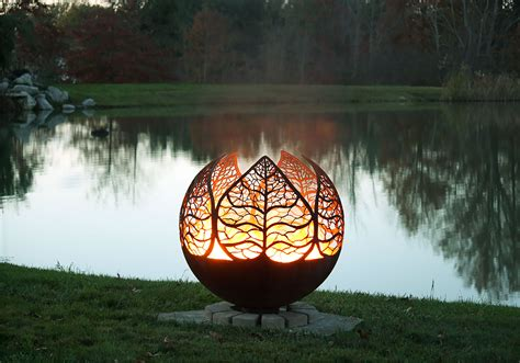 autumn sunset leaf fire pit sphere the fire pit
