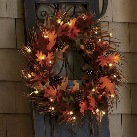 battery lighted fall garland lighted fall wreath the country door autumn fall