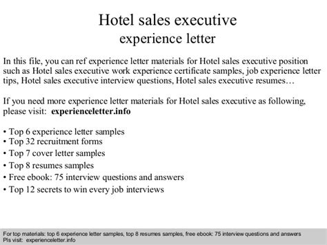 Experience Letter Hotel hotel sales executive experience letter