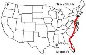 New York To Florida Map by Florida New York Map