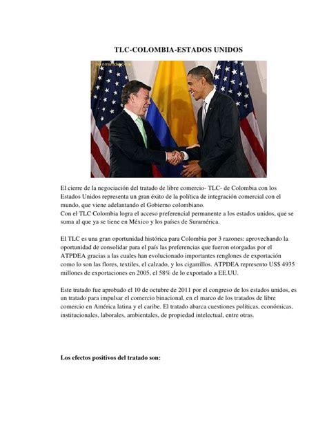 tlc colombia estados unidos y su incidencia en el sector tlc colombia vs estados unidos