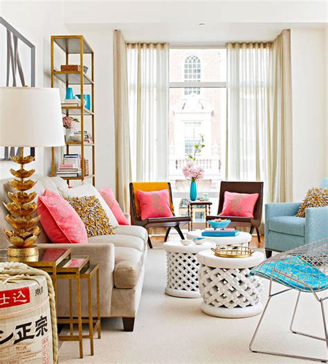 neutral living room with pops of color bhg style spotters