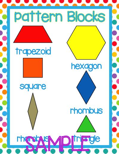 shape using pattern blocks pattern block posters pattern blocks vocabulary cards