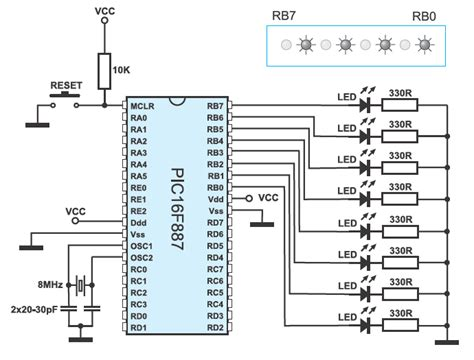 led diode connection 4 3 exle 1 pic microcontrollers programming in c