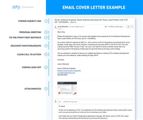 email cover letter sample format subject