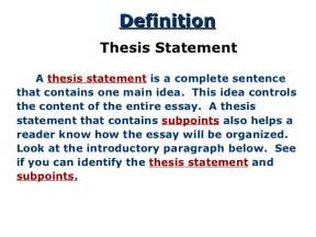 Thesis Definition In Writing Thesis For Response To Literature