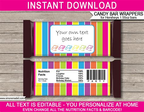 editable bar wrapper template baking or cooking hershey bar wrappers