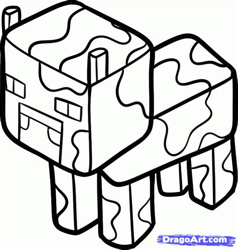 minecraft mooshroom coloring page step 6 how to draw a minecraft cow