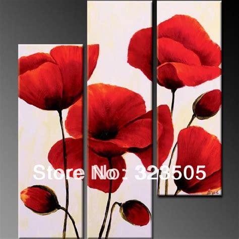 Lukisan Kaligrafi Bunga Merah Abstrak 3 panel poppy merah bunga kanvas dinding seni abstrak yang modern dinding akrilik tangan dicat
