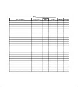 Personal Asset List Template by Asset List Template 8 Free Sle Exle Format