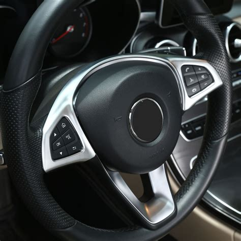 chrome steering wheel button trim car accessories  mercedes benz glc   class