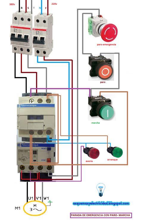 un contactor a botoneras esquemas el ctricos apexwallpaperscom arranque y parada con paro de emergencia motor trif 225 sico