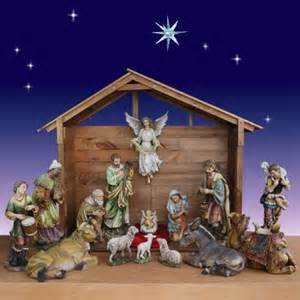 Artisan nativity 30 quot 15 figs with outdoor nativity stable 55 quot