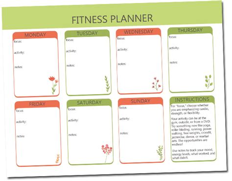 Printable Exercise Planner Free | free printable fitness planner the craft of laughter