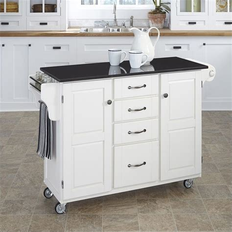 White Kitchen Island With Granite Top Granite Top Kitchen Cart In White 9100 1024