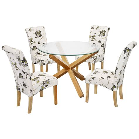 Dining Table And Fabric Chairs Solid Oak Glass Dining Table And Chair Set With 4 Floral Fabric Seats Ebay