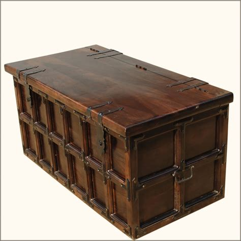 Coffee Table Storage Trunk Solid Wood Iron Rustic Coffee Table Storage Trunk Traditional Decorative Trunks San