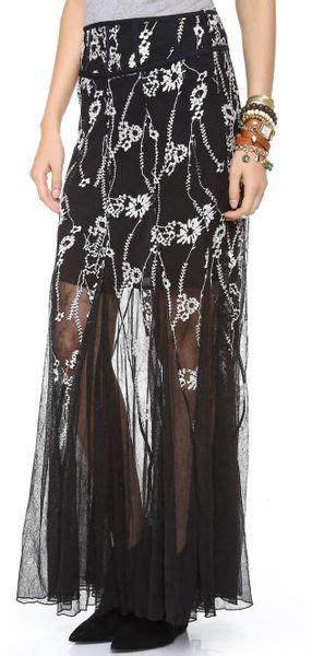 free windswept maxi skirt in black black combo lyst