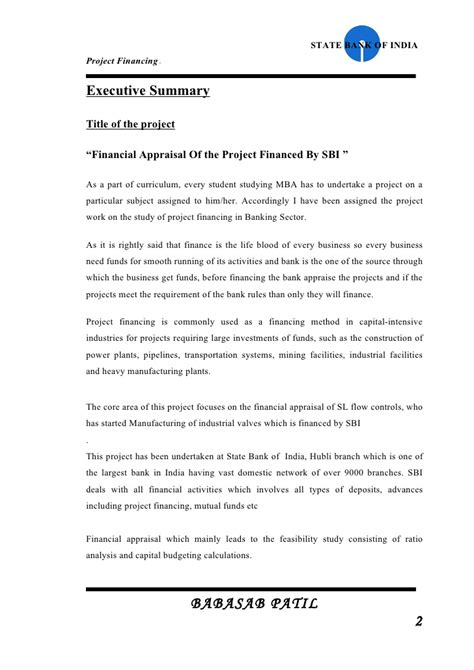 Investment Banking Project Report For Mba by Financial Appraisal Of Project Sbi Project Report Mba