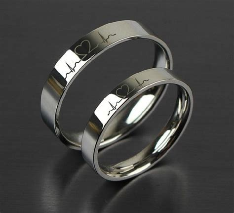 Wedding Rings For Couples by 2 Pcs Free Engraving Electrocardiogram Promise Rings