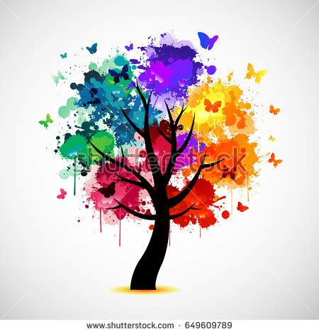 colorful tree colorful tree background stock vector 76634257