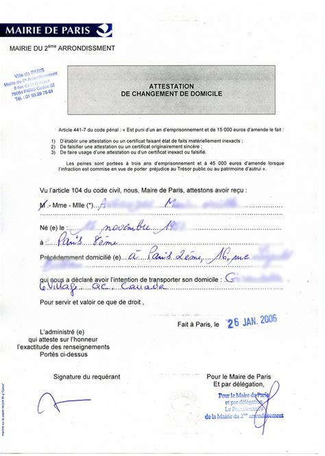 Modèle Certificat De Domicile Mairie