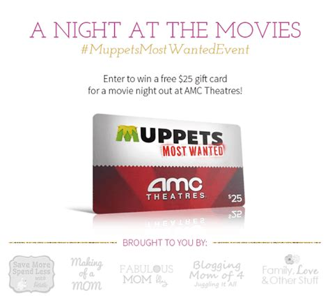 Amc Gift Card - enter to win 25 amc gift card muppetsmostwantedevent