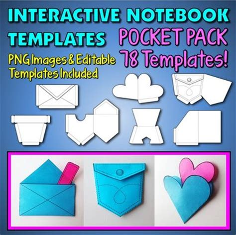 Interactive Notebook Templates Pocket Pack 78 Templates For Commercial And Personal Use Interactive Notes Template