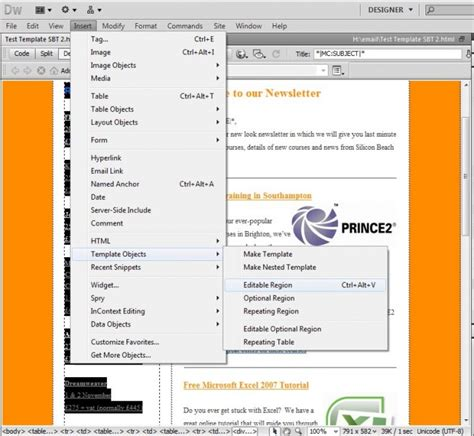 Email Marketing Using Dreamweaver Dreamweaver Email Templates Free
