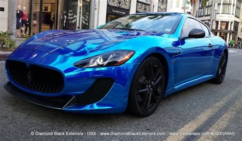 maserati wrapped maserati granturismo mc wrapped in chrome blue