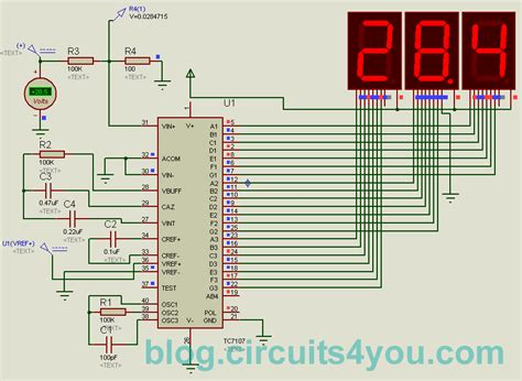 digital voltmeter circuit diagram icl7107 digital voltmeter circuits4you