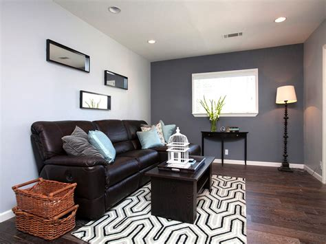 grey and brown living room house hunters renovation hgtv
