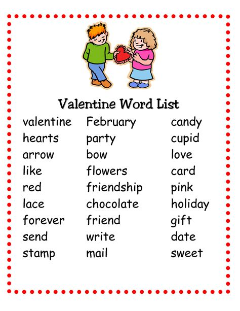 valentin day list pictionary words for activity shelter