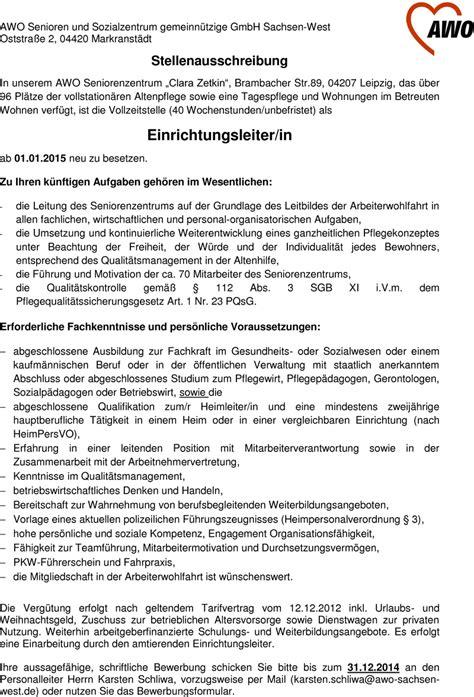 Bewerbung Htwk Leipzig Stellenangebot Einrichtungsleiter In In Leipzig