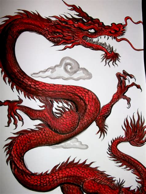dragon rojo chino by andralien on deviantart