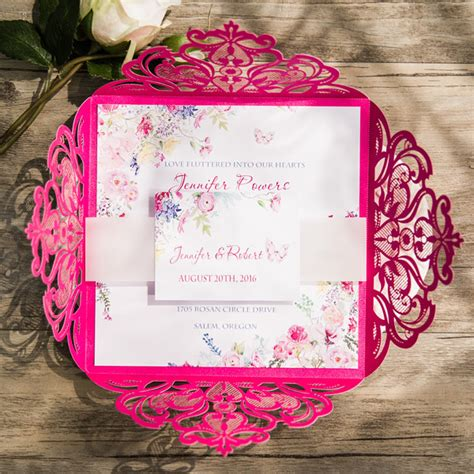 pink white and silver wedding invitations navy blue floral silver laser cut invitations ewws090 as low as 2 09