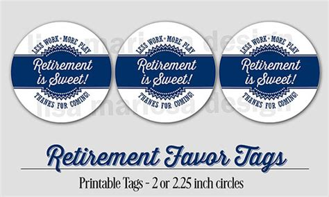 printable retirement gift tags retirement favor tags printable navy blue 2 or 2 25