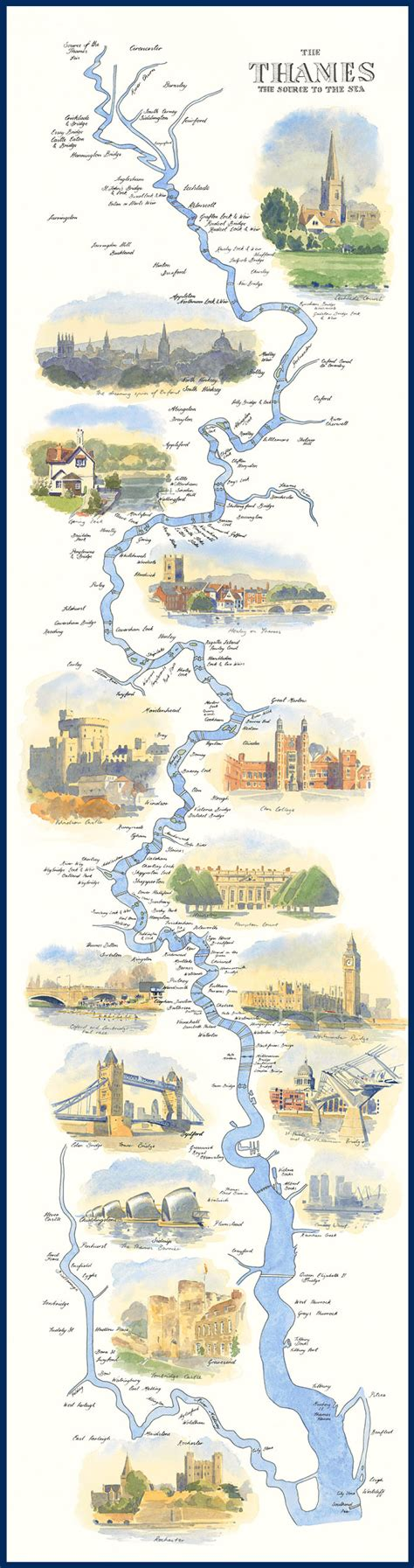 river thames source to mouth map 187 the river thames path an illustrated map by william