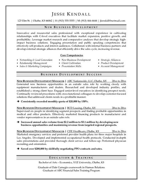 Cv In Business Business Development Sle Resume Business Development