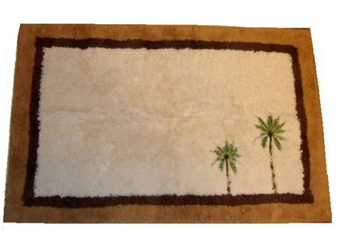 embroidered tropical palm trees bath mat rug Palm Tree Bathroom Rugs