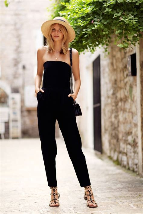 jumpsuits with flat shoes black jumpsuit with flat sandals and a panama hat