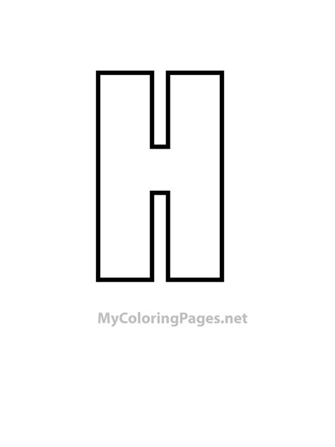 Free bubble the letter h coloring pages