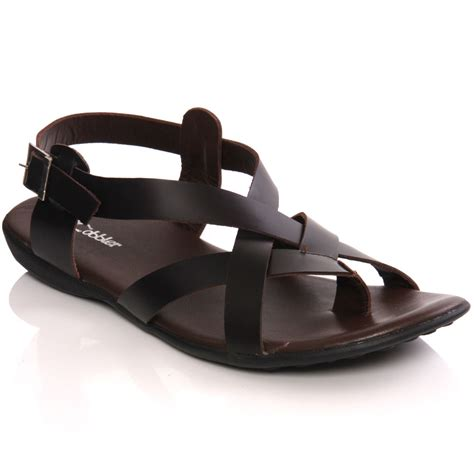 Handmade Leather Sandals Uk - unze mens nabi handmade leather flat summer