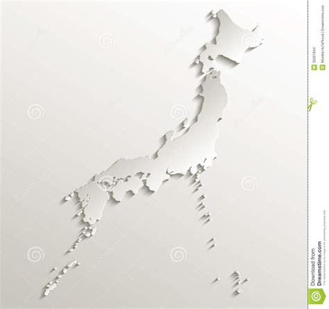 Japan Map Cities Outline by Japan Map Card Paper 3d Stock Vector