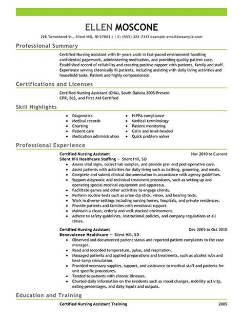 Nursing Assistant Resume Format Certified Pharmacy Technician Resume Sle Resume Exles Certified Nursing Assistant 1