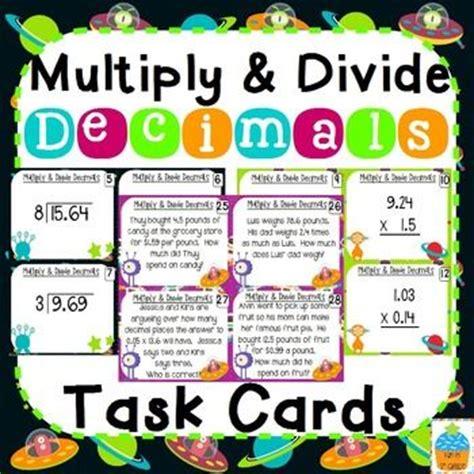 decimal card games printable multiply and divide decimals task cards game cards