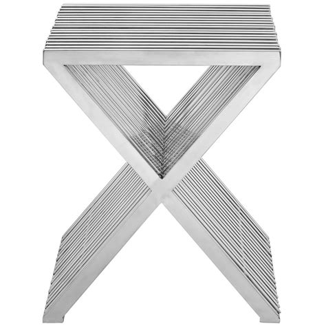 chrome side table chrome x side table modern furniture brickell collection