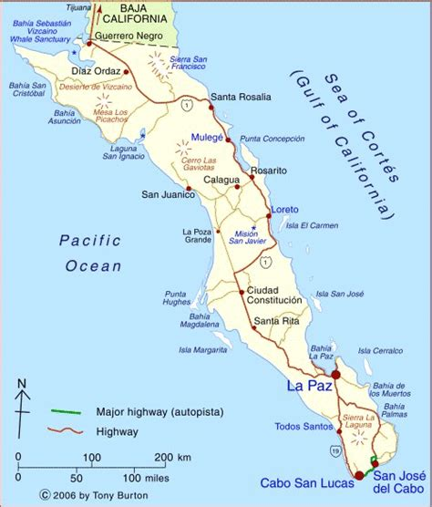 map of baja california baja california sur mexico map top tourist areas