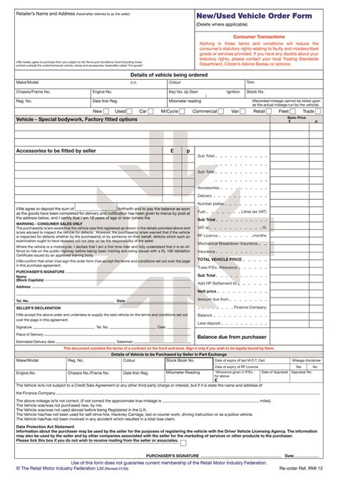 vehicle order form rmi012 new used vehicle order form pad rmi webshop