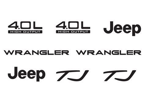 jeep wrangler logo decal jeep wrangler tj 4 0l 4 0 l refresh vinyl decal set